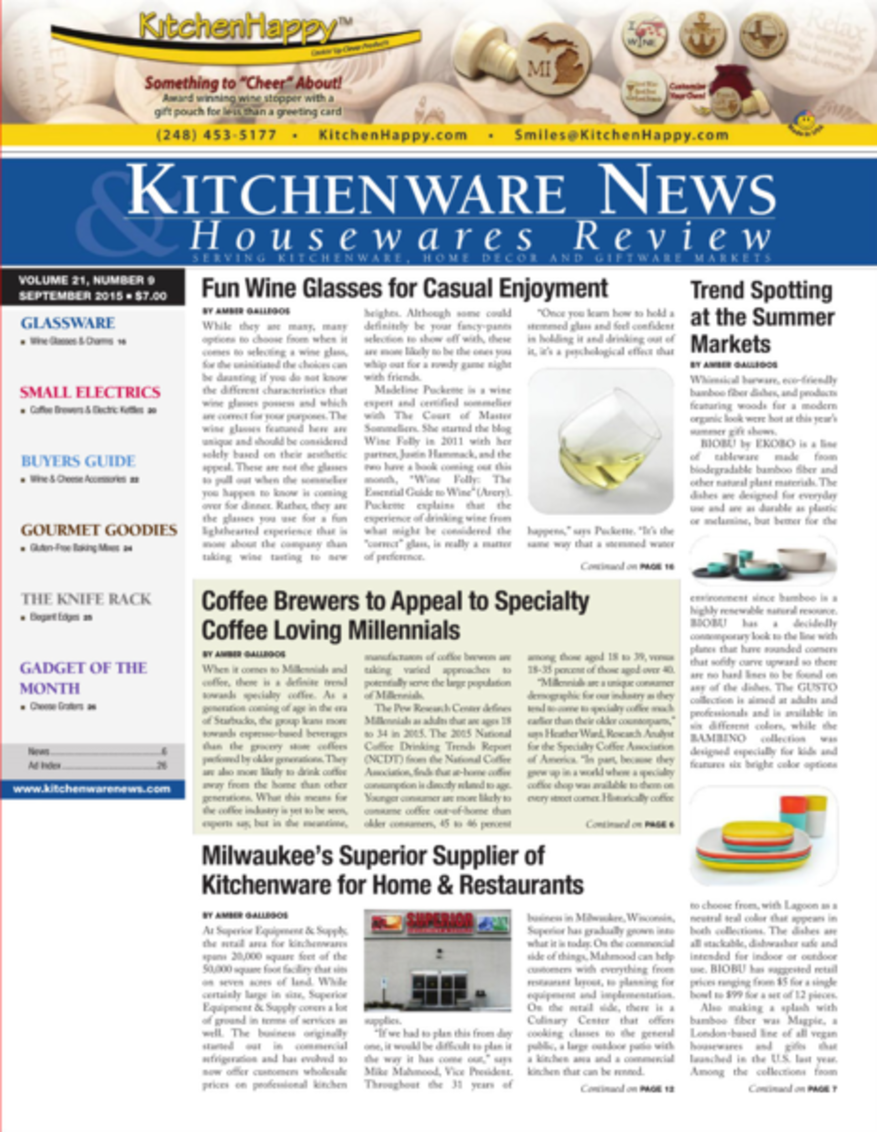 Jean Dubost - Kitchenware news & Housewares news, Septembre 2015