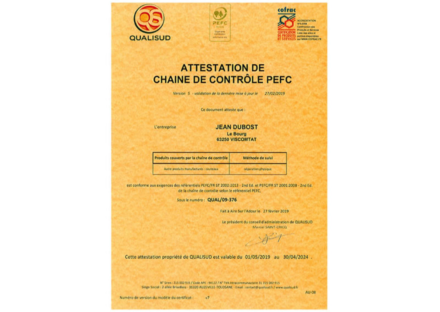 2019_Attestation_certification_PEFC_Jean_Dubost_gestion_durable_des_forets